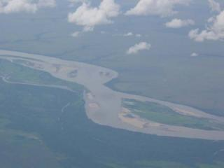 An aerial view of the Rio Meta, Colombia just a few miles upstream from where it meets the Orinoco.