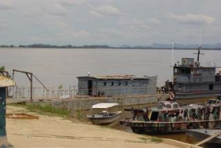 Looking east across the Rio Orinoco from Puerto Carreño, Colombia towards Venezuela. The Orinoco is a typical black water river. Many beautiful loricariids are exported from here.